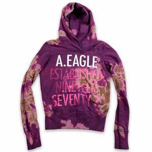 American Eagle Sweatshirt Tie Dye Hoodie Size XS